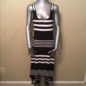 RIp Curl black/white striped maxi viscose dress